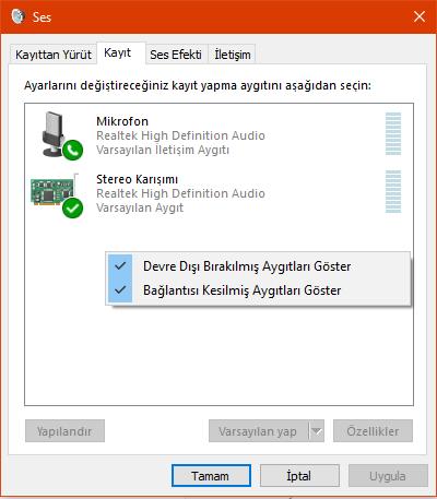 windows ses kayıt aygıtları