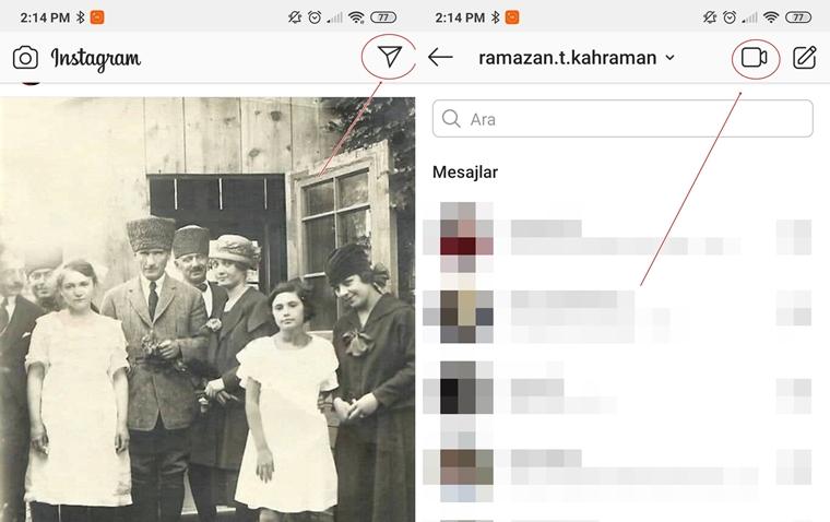 instagram görüntülü konuşma açma