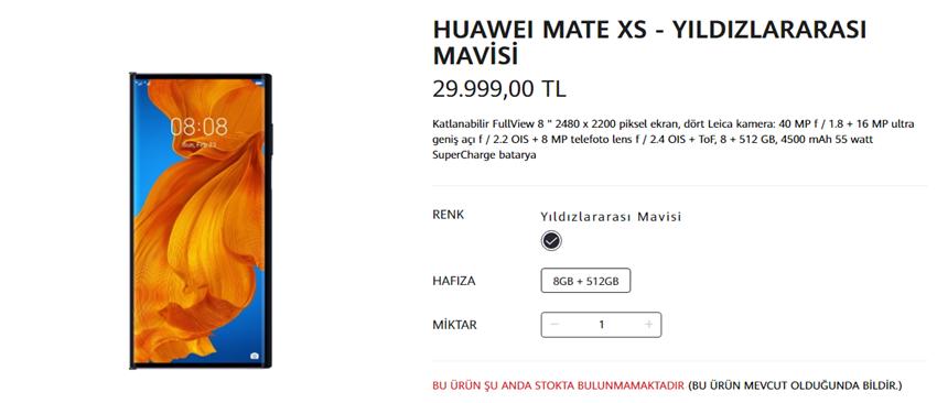 Huawei Mate Xs Stokları Tükendi