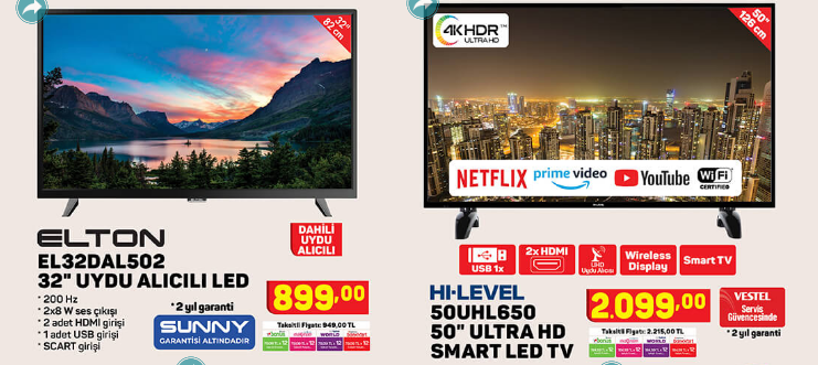 Elton EL32DAB3037 32 Uydu Alıcılı Led Tv Hi Level 50UHL650 50 ULTRA HD Smart Led TV