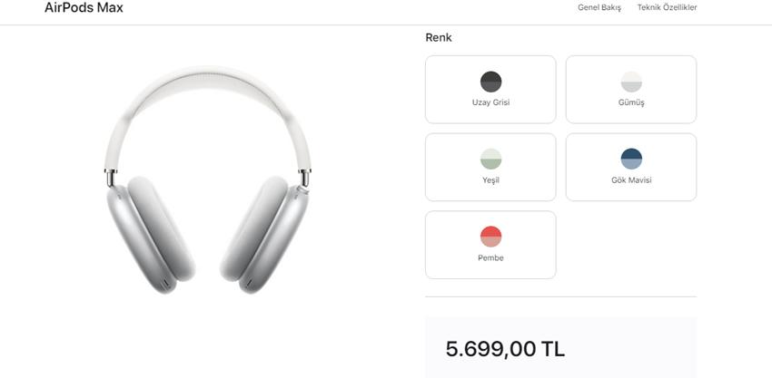 Apple AirPods Max Türkiye Fiyatı