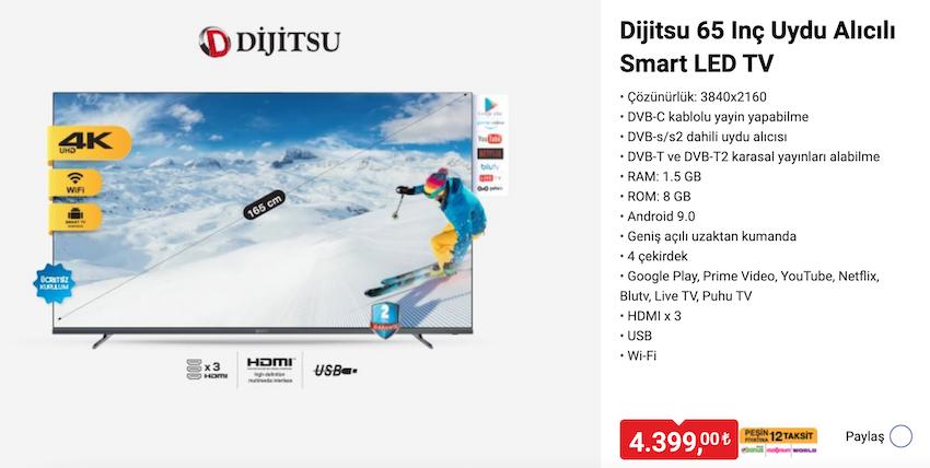 Dijitsu 65inç Uydu Alıcılı Smart TV- 24 ARALIK