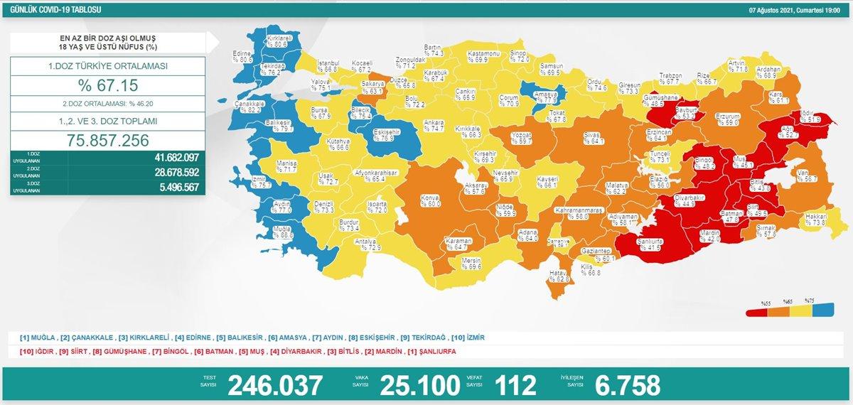 7 Ağustos 2021 Türkiye Koronavirüs Vaka Sayısı Tablosu