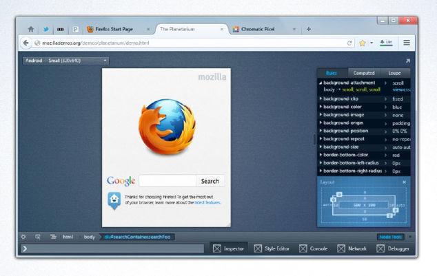 Firefox Gelişmiş Geliştirici Araçları Arayüzü