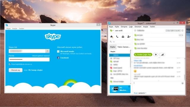 Programsız Skype Çoklu Oturum Açma