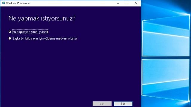 Windows 10 Yükleme Medyası Oluşturma