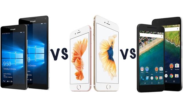 Lumia 950 Serisi ile Apple iPhone 6s, Google Nexus 5X ve 6P Arasındaki Farklar