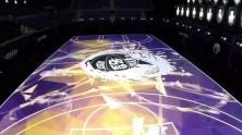 Zemindeki LED Aydınlatma ile Görsel Şölen Yaratan Basketbol Salonu
