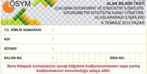 2012 KPSS Alan Bilgisi Testi Soruları ve Cevapları