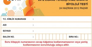 2012 LYS2 Biyoloji Testi Soruları ve Cevapları