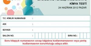 2012 LYS2 Kimya Testi Soruları ve Cevapları