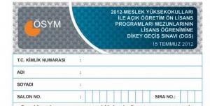 2012 Dikey Geçiş Sınavı (DGS) Soru Kitapçığı ve Cevap Anahtarı