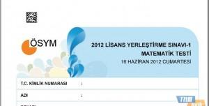 2012 LYS-1 Matematik Testi Soruları ve Cevapları