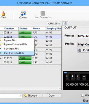 Free Audio Converter 4dots Ekran Görüntüleri - 1