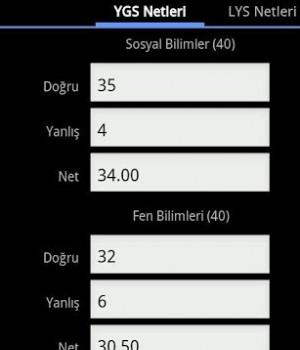 YGS & LYS Puan Hesaplama Ekran Görüntüleri - 3
