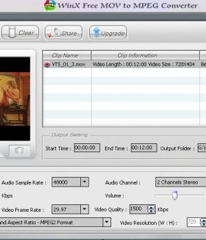 Winx Free MOV to MPEG Video Converter Ekran Görüntüleri - 1