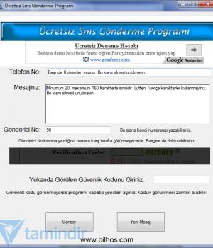 Ücretsiz Sms Gönderme Programı Ekran Görüntüleri - 1