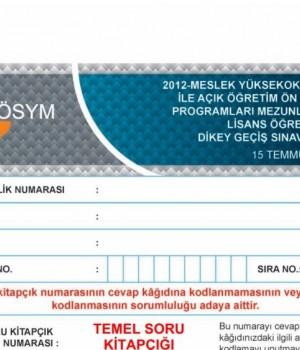 2012 Dikey Geçiş Sınavı (DGS) Soru Kitapçığı ve Cevap Anahtarı Ekran Görüntüleri - 1