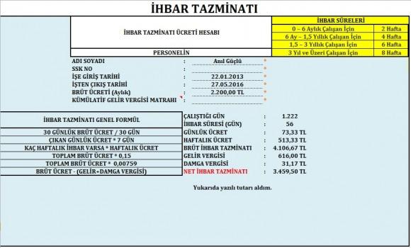 Kıdem İhbar Tazminatı Hesaplama - 3