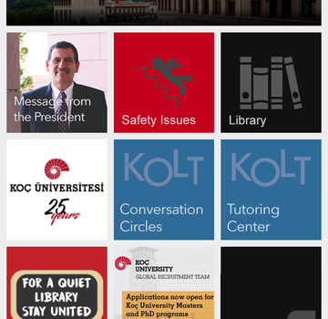 Koç Üniversitesi Mobil Ekran Görüntüleri - 1