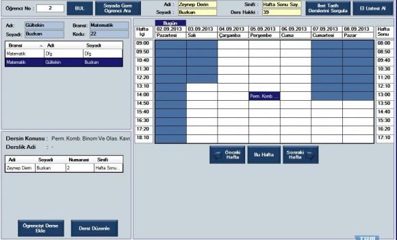 Etüt ve Özel Ders Takip Programı Ekran Görüntüleri - 3