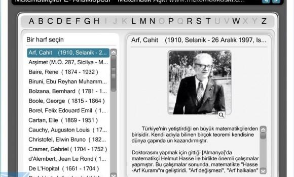 Matematikçiler E-Ansiklopedi Ekran Görüntüleri - 1