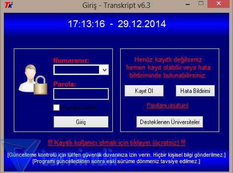 Transkript Hesaplama Ekran Görüntüleri - 1