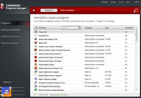 Comodo Programs Manager Ekran Görüntüleri - 1