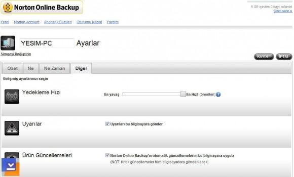 Norton Online Backup Ekran Görüntüleri - 2