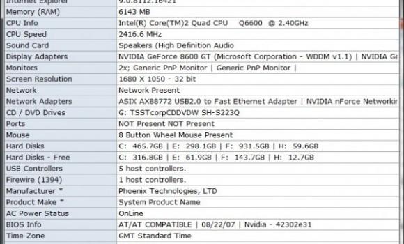 System Spec Ekran Görüntüleri - 1