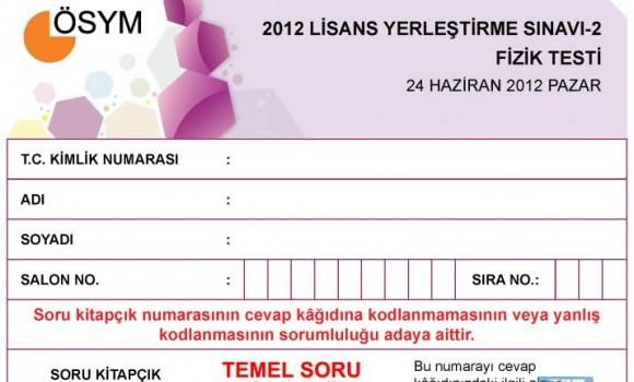 2012 LYS2 Fizik Testi Soruları ve Cevapları Ekran Görüntüleri - 1