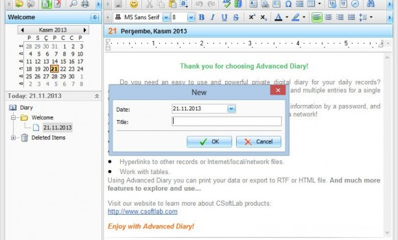 Advanced Diary Ekran Görüntüleri - 1