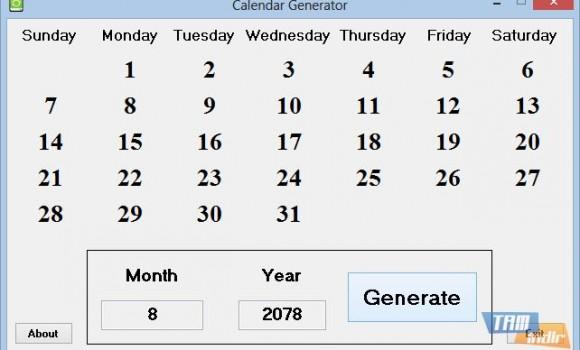 Calendar Generator Ekran Görüntüleri - 2