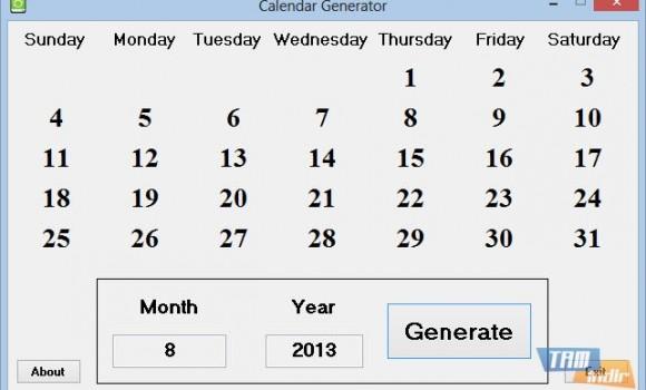 Calendar Generator Ekran Görüntüleri - 1