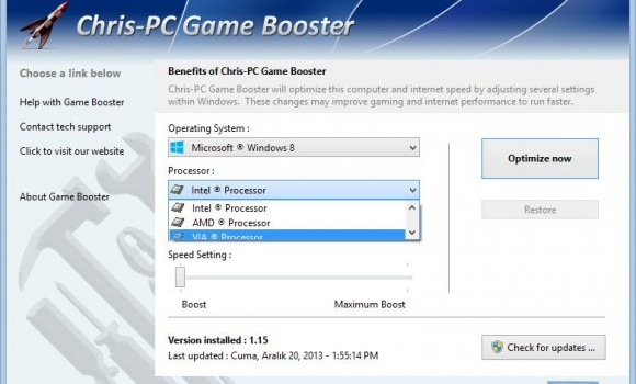 Chris-PC Game Booster Ekran Görüntüleri - 1