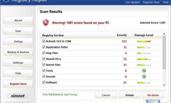 Simnet Registry Repair Ekran Görüntüleri - 3