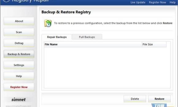 Simnet Registry Repair Ekran Görüntüleri - 2