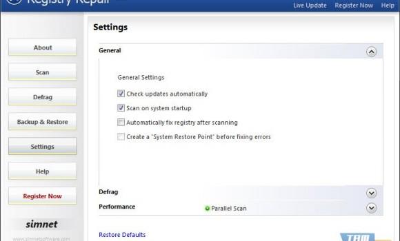Simnet Registry Repair Ekran Görüntüleri - 1