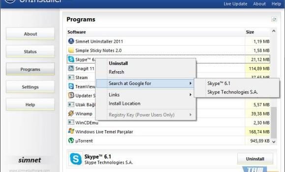 Simnet UnInstaller Ekran Görüntüleri - 1