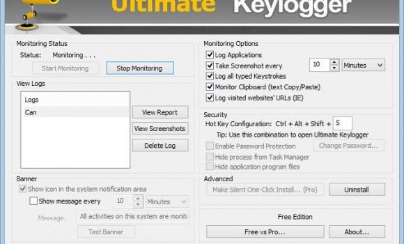 Ultimate Keylogger Free Edition Ekran Görüntüleri - 1