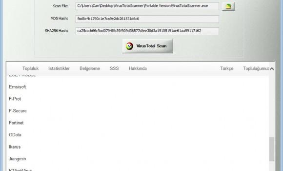 VirusTotal Scanner Ekran Görüntüleri - 1
