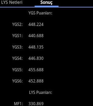 YGS & LYS Puan Hesaplama Ekran Görüntüleri - 2