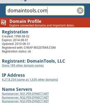DomainTools Whois Lookup Ekran Görüntüleri - 1