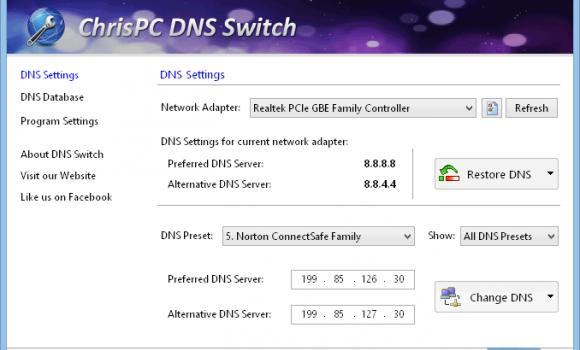 ChrisPC DNS Switch Ekran Görüntüleri - 2
