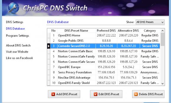 ChrisPC DNS Switch Ekran Görüntüleri - 1