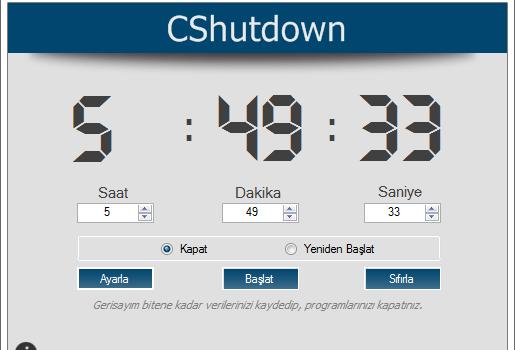 CShutdown Ekran Görüntüleri - 1