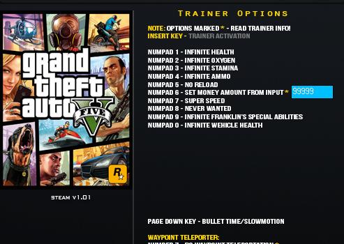 GTA 5 Trainer Ekran Görüntüleri - 1