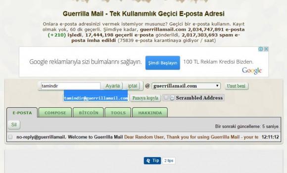 Guerillamail Ekran Görüntüleri - 1
