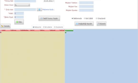 Stok Takip / Fiyat Teklifi Hazırlama / Cari Kontrol Sistemi Ekran Görüntüleri - 5