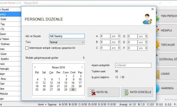 Veirasoft Nöbet Listesi Hazırlama Programı Ekran Görüntüleri - 3